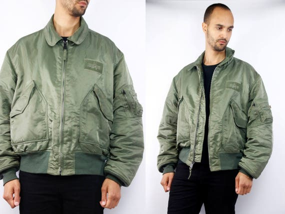 Alpha Bomber Jacket / Bomber Jacket Alpha / Alpha Industries / Green Bomber Jacket / Bomber Jacket Green Flight Jacket 90s Flight Jacket J8