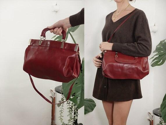 Leather Bag Leather Shoulder Bag Vintage Bag Grab Bag Travel Bag Brown Leather Bag Brown Leather Bag Brown Grab Bag Vintage Clothing B41