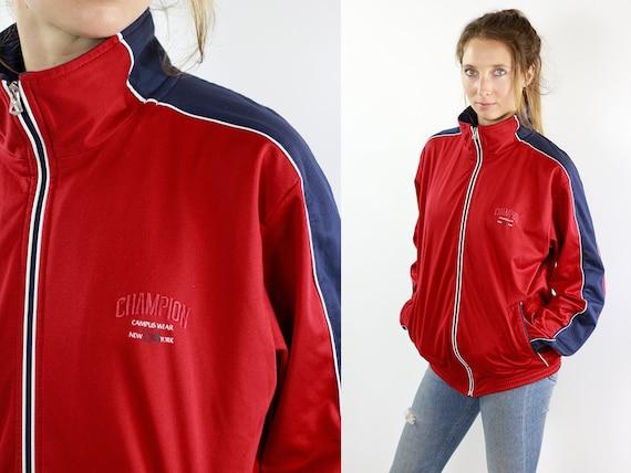Champion Windbreaker Champion Track Jacket Champion Jacket Red Windbreaker 90s Track Jacket Champion 90s Shell Jacket Red Shell Jacket 90s