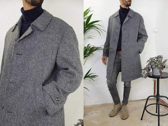 Wool Coat Grey Vintage Wool Coat Winter Warm Wool