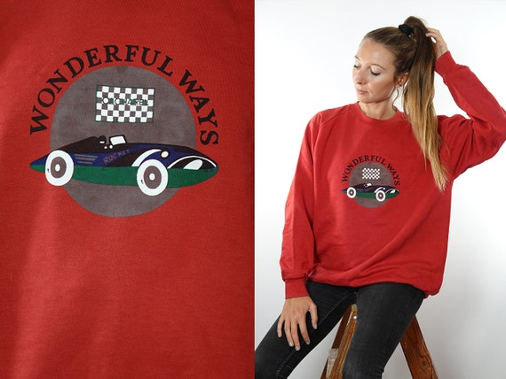 Vintage Sweatshirt 90s Sweatshirt Oversize Sweatshirt Vintage Hoodie 90s Hoodie Oversize Hoodie Red Jumper Football Sweater SW143