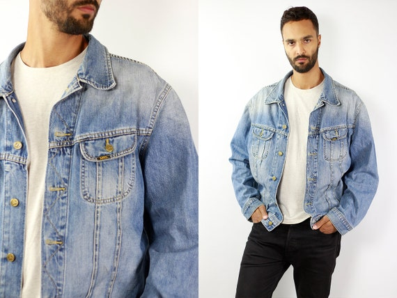 Denim Jacket LEE Jean Jacket Dark Blue Jean Jacket Lee Denim Jacket 90s Jean Jacket Blue Jeans Jacket Large Denim Jacket Lee Grunge JJ224