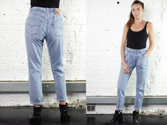 Levis Mom Jeans Levis Light Blue Levis Jeans Reworked  Levis Vintage Jeans  Levis 501 Jeans Mom Jeans High Waist Jeans Paperbag Pants RJ8