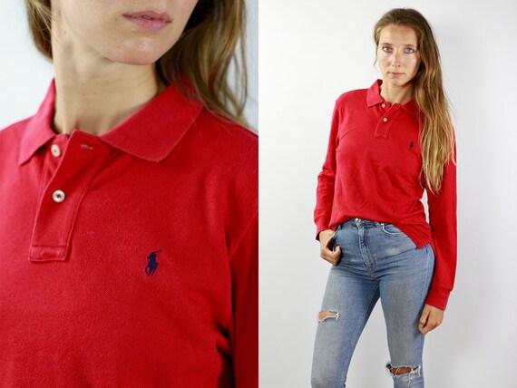 Ralph Lauren Poloshirt Vintage Polo Shirt Ralph Lauren T Shirt Red Polo Shirt Longsleeve Poloshirt 90s Poloshirt 90s Polo Shirt Longsleeve