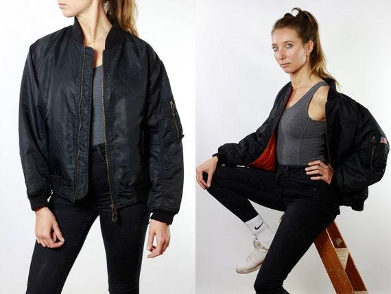 Bomber Jacket 90s Bomber Jacket Vintage Clothing Women Jacket Black Bomber Jacket Vintage Bomber Oversize Jacket 90s Clothing JA72