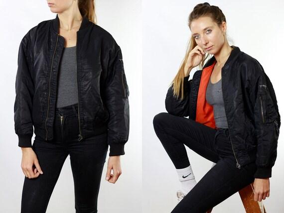 Bomber Jacket Black Bomber Jacket 90s Bomber Jacket 90s Clothing Vintage Clothing Womens Jacket Womens Bomber Jacket Vintage Bomber JA83