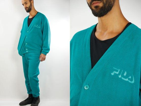 FILA Track Suit / Fila Pyjama / Green Fleece Suit / Fila Fleece Suit / Tracksuit Fila / Green Fila Suit / 90s Track Suit / 90s Fila / Pyjama