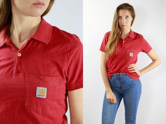 Carhartt T-Shirt Carhartt Top Vintage Red Carhartt Shirt 90s Poloshirt Carhartt Vintage Top Carhartt Top Vintage Carahrtt Shirt Red Top 90s