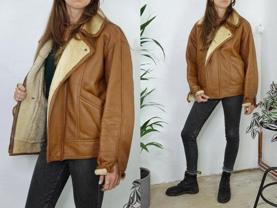Shearling Jacket Sheepskin Brown Sherpa Jacket  Sh