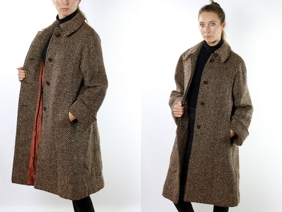 Wool Coat Vintage Wool Coat Womens Coat Long Coat 70s Coat 70s Wool Coat Vintage Clothing Aquascutum Coat Brown Wool Coat CO61