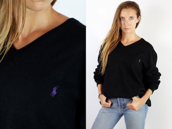 RALPH LAUREN Sweatshirt  Vintage Ralph Lauren  Ralph Lauren Jumper Ralph Lauren Sweater  Black Sweater Black Wool Jumper