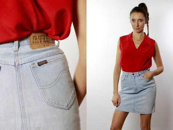Denim SKIRT High Waist  / Vintage Denim Skirt / Denim Skirt  Vintage / 80s Skirt / Pencil Skirt / Denim Mini Skirt Jean Skirt High Waist R15