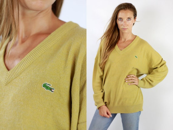 LACOSTE Jumper Sweater Lacoste  Yellow Lacoste Sweatshirt  90s Sweater  Lacoste  Vintage Lacoste Men  Vintage Lacoste Yellow Jumper WP76
