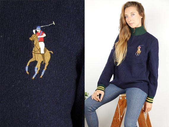 SOLD RALPH LAUREN Jumper Ralph Lauren Sweater Ralph Lauren Women Polo Ralph Lauren Vintage Wool Jumper Blue Wool SweaterWP76