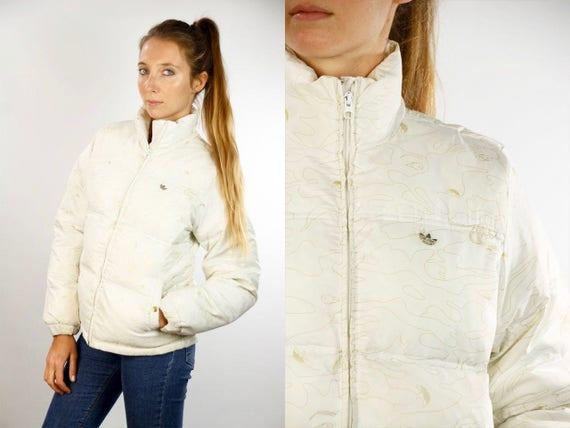 White Puffer Jacket ADIDAS Jacket Vintage Adidas Jacket Puffer Jacket Puffer Jacket White 90s Adidas Jacket 90s Puffer Jacket