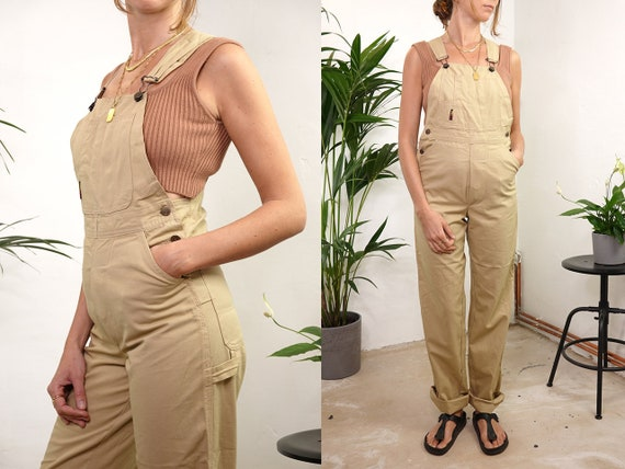 80s Overalls Vintage Dungarees Cotton Dungarees Beige Overalls 90s Dungarees Small Dungarees Vintage Clothing Second Hand  DU5