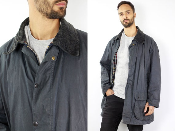 BARBOUR Wax Coat BORDER Wax Jacket Vintage Barbour Coat Parka Blue Coat Barbour Vintage Wax Jacket Blue Wax Coat Barbour BORDER Coat C66