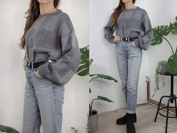 Wool Jumper Vintage Wool Sweater Knitted Jumper Oversize Jumper Grey Sweater Warm Wool Jumper Second hand Vintage Clothing WP297