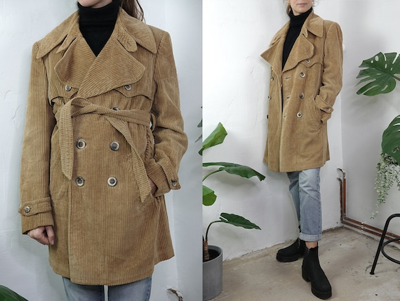 Corduroy Jacket Corduroy Coat Warm Corduroy Coat Lined Beige Womens Coat Corduroy Trench Coat Second Hand Vintage Clothing CO177