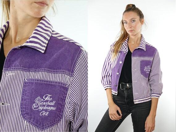 Vintage Denim Jacket Vintage Jean Jacket Purple Denim Jacket Cropped Denim Jacket Cropped Jean Jacket Grunge Denim Jacket Small Jacket JA106