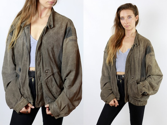 Suede Jacket Grey Leather Jacket Suede Bomber Jacket Vintage Suede Oversize Jacket Vintage Clothing 80s Suede Jacket Men Soft Leather SUJ76