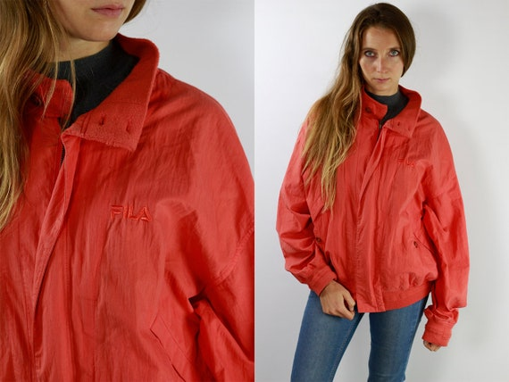 Red Fila Jacket Red Bomber Jacket Fila Rain Jacket Windbreaker Fila Shell Jacket Festival Fila Raincoat Red Windbreaker Fila 90s Jacket JA6