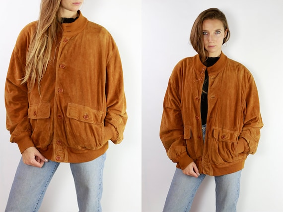 Vintage Suede Jacket Vintage Suede Bomber Suede Bomber Jacket Brown Suede Jacket Brown Bomber Jacket Soft Suede Jacket Large Suede SUJ4