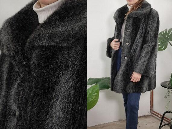 Faux Fur Coats Vintage Faux Fur Coat Grey Fur Coat Vintage Fur Coat Vegan Fur Coat 80s Winter Coat Vintage Clothing Second Hand SH113