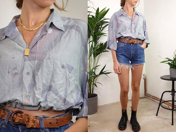 90s Shirt Crop Top 80s Retro Shirt Geometrical Print Shirt Tribal Tshirt Oversized Shirt Womens Shirt Short Sleeves Vintage Clothing  RHE1