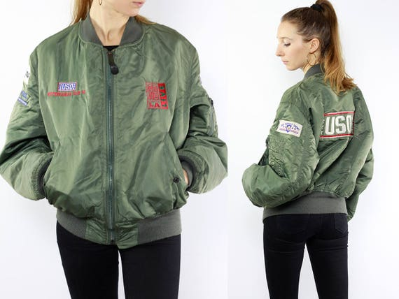 Patched Bomber Jacket / Bomber Jacket Patches / Vintage Bomberjacket / Green Bomber Jacket / Balloon Jacket Vintage Jacket Bomberjacket J105