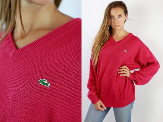 Vintage Sweater Lacoste Pink LACOSTE Sweater Lacoste Jumper 90s Lacoste Sweater  Jumper Lacoste Lacoste Vintage Jumper 90s WP75