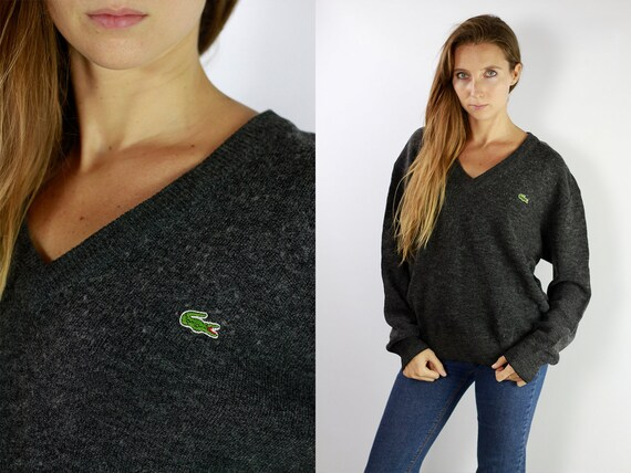 LACOSTE Jumper Sweater Lacoste Grey Lacoste Sweatshirt 90s Sweater Lacoste  Lacoste Vintage  Lacoste Women  Vintage Lacoste  Grey P32