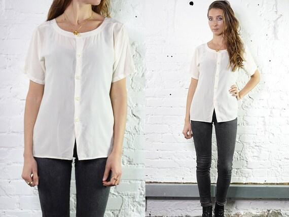 Womens Shirt Vintage Clothing White Blouse Summer blouse Silk Shirt Vintage 80's Shirt Vintage Shirts Womens Shirt Loose Shirt SB6