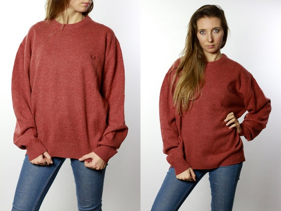 FRED PERRY Sweater Fred Perry Sweatshirt Fred Perry Jumper Red Jumper Fred Perry Vintage Red Wool Sweater  Wool Jumper P61