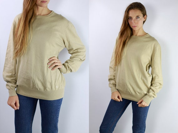 Burberry Sweater / Burberry Jumper / Burberry / Burberry Vintage / Wool Jumper / Wool Sweater / Beige cotton Jumper P38