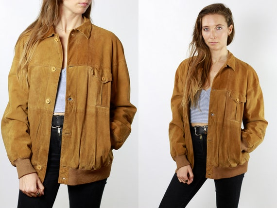 Vintage Suede Jacket Vintage Suede Bomber Suede Bomber Jacket Brown Suede Jacket Brown Bomber Jacket Soft Suede Jacket Large Suede SUJ84