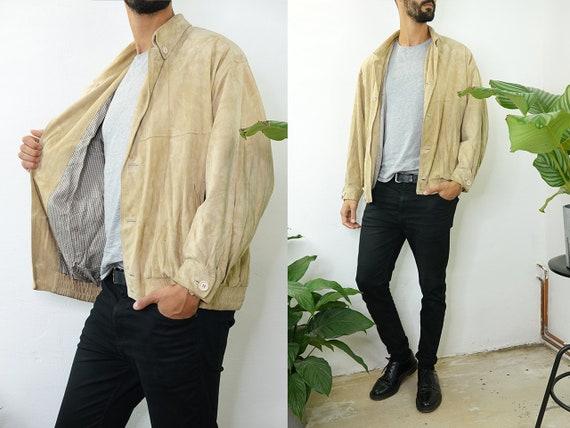 Suede Jacket Vintage Suede Bomber Jacket Beige Suede Jacket Beige Bomber Jacket Soft Suede Jacket Second Hand Vintage Clothing WLJ58