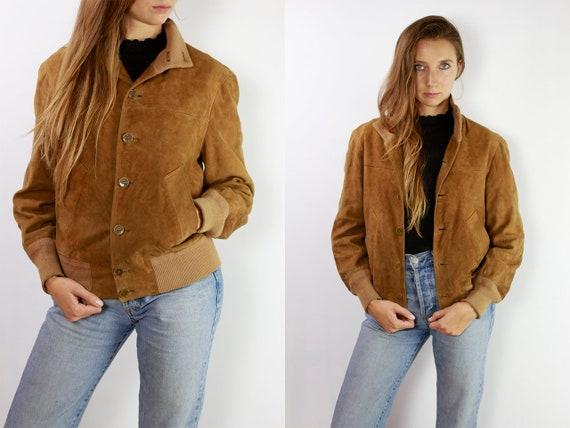 Vintage Suede Jacket Reversible Jacket Vintage Suede Bomber Suede Bomber Jacket Brown Suede Jacket Brown Bomber Jacket Soft Suede JacketSUJ6