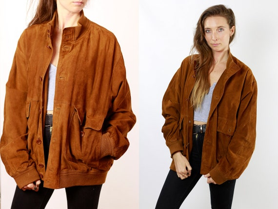 Suede Jacket Brown Suede Suede Bomber Jacket Vintage Suede Soft Leather Jacket Oversize Jacket Vintage Clothing 80s Suede Jacket SUJ77