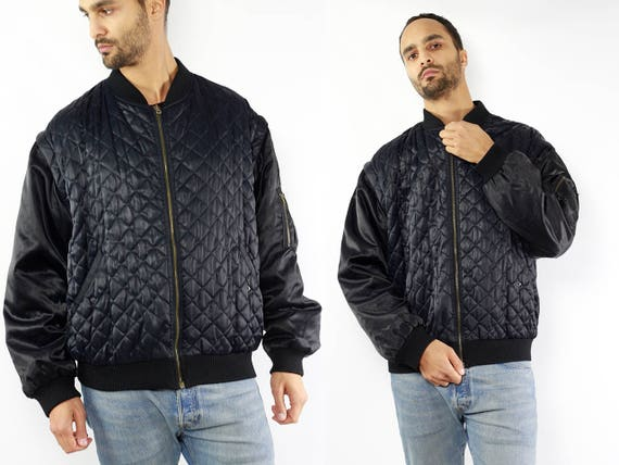 Black Bomber Jacket / 90s Bomber Jacket / Bomber Jacket / Bomber Jacket Men / Quilted Jacket / Quilted Bomber Quilted Jacket Black 90s J87