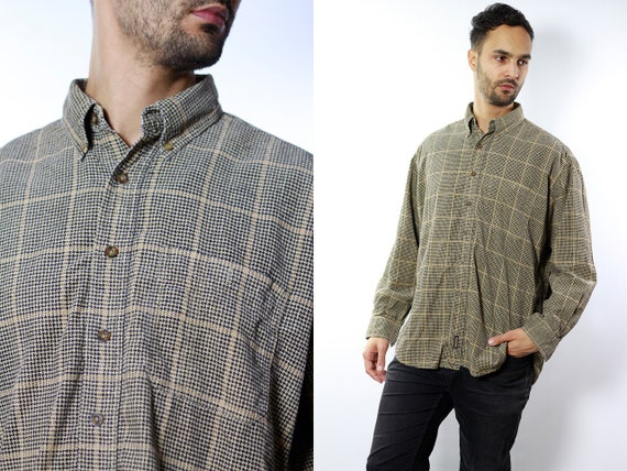 Checked Corduroy Shirt / Woolrich Shirt / Shirt Corduroy / Button Shirt /Woolrich / Corduroy Button Shirt / Checked Shirt Vintage HE26