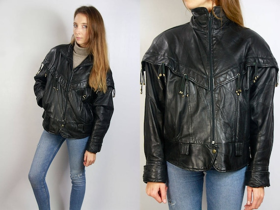 Vintage Fringe Leather Jacket / Fringe Jacket / Leather Fringe Jacket / Vintage Leather / 70s Fringe Jacket / 80s Fringe Jacket / Black