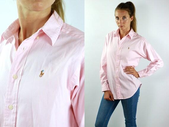 RALPH LAUREN Shirt Ralph Lauren Button Up Pink Shirt Women Pink Blouse Vintage Ralph Lauren Vintage Shirt Oxford Shirt Polo Button Shirt 90s