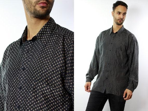 Silk Shirt Men / Silk Button Up / Silk Button Down / Mens Silk Shirt / 90s Silk Shirt / Silk Mens Top / Grey Mens Shirt Grey Silk Shirt HE47