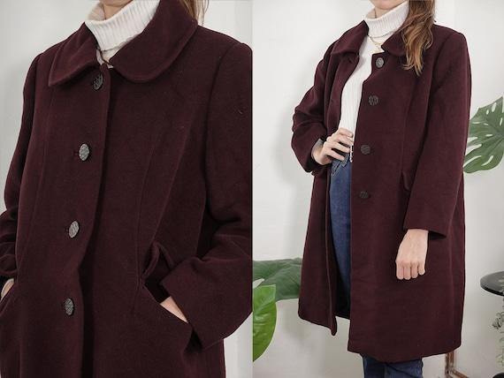 Vintage Coat Vintage Wool Coat Brown Vintage Coat 80s Wool Coat Winter Coat Warm Vintage Clothing Wool Trench Coat Womens Second Hand CO199