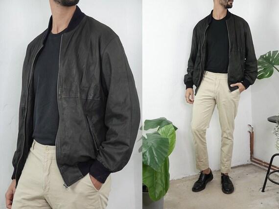 Bomber Jacket Black Vintage Bomber Jacket Men Leather Jacket 80s Biker Jacket Leather Black Mens Jacket Vintage Clothing Second Hand BLJ29