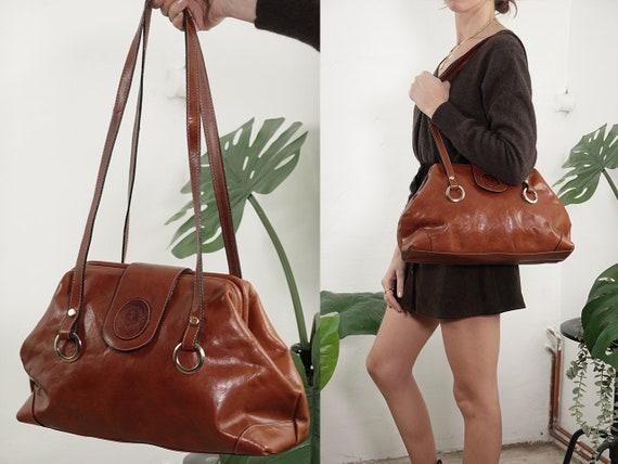Leather Bag Leather Shoulder Bag Vintage Bag Grab Bag Travel Bag Brown Leather Bag Brown Leather Bag Brown Grab Bag Vintage Clothing B27