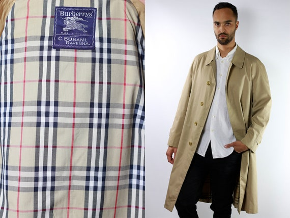 Burberry Trench Coat Long Trench Coat Long Coat Burberry Coat Burberry Jacket Vintage Trench Coat Beige Men Vintage Clothing CO62