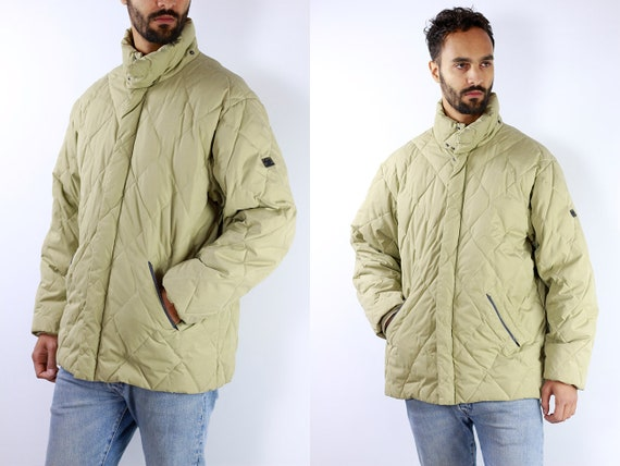 Sergio Tacchini Jacket Beige Puffer Jacket 90s Puffer Jacket Beige Quilted Jacket Vintage Down Jacket 90s Beige Down Jacket Winter Jacket