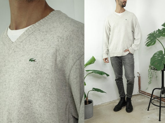 LACOSTE Jumper Knitted Lacoste Sweater Beige Lacoste Sweatshirt Lacoste Jumper Vintage Sweater Vintage Clothing Second Hand WP285